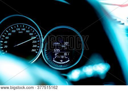 Closeup Car Fuel Gauge Dashboard Panel. Gasoline Indicator Meter And Speedometer. Fuel Gauge Show Fu
