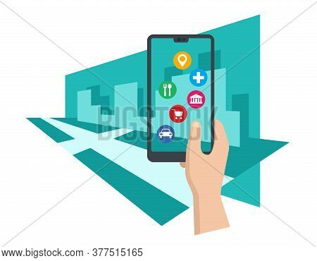 Augmented Reality Concept With Phone Holding In Hands And Places Of Interest On Device Screen