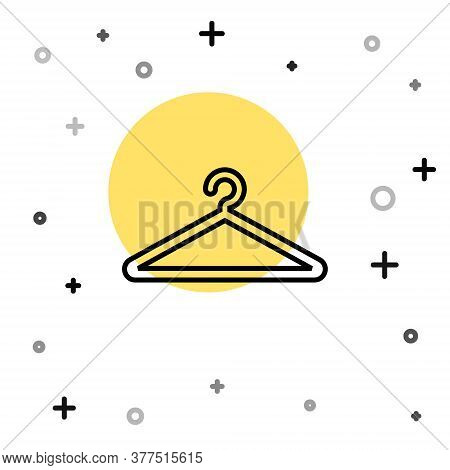 Black Line Hanger Wardrobe Icon Isolated On White Background. Cloakroom Icon. Clothes Service Symbol