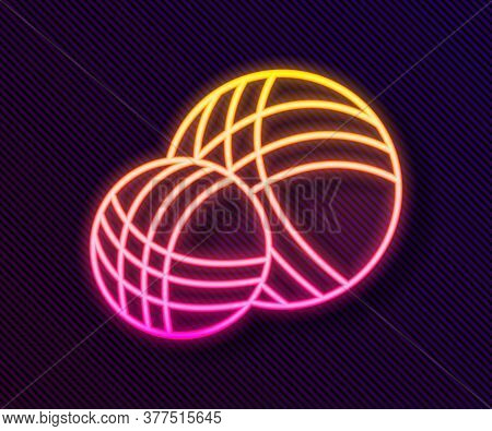 Glowing Neon Line Yarn Ball Icon Isolated On Black Background. Label For Hand Made, Knitting Or Tail