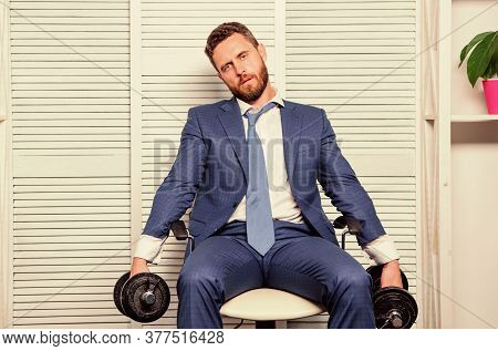 Should Work For Success. Challenging Himself. Businessman Hold Dumbbell. Sport And Business. Being B