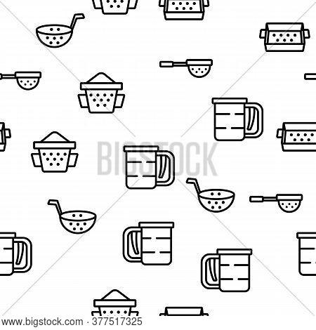 Sieve Kitchen Utensil Vector Seamless Pattern Thin Line Illustration