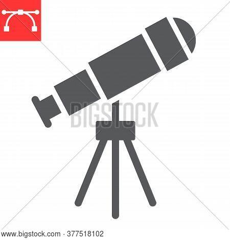 Telescope Glyph Icon, School And Education, Telescope Sign Vector Graphics, Editable Stroke Solid Ic