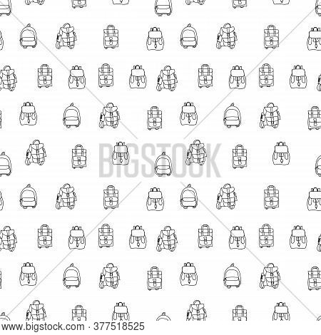 Seamless Pattern Back To School.hand Drawn Modern Doodle Backpacks.cartoon Sketch Cool Bags.for Wall