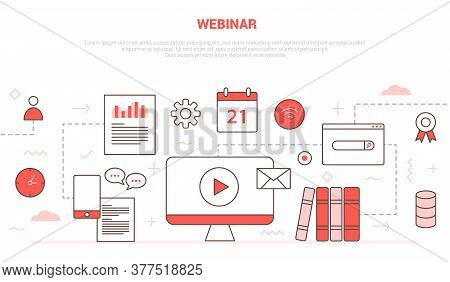 Webinar Concept With Icon Set Collection Like Computer Video Play Chat Calendar Book Network Certifi