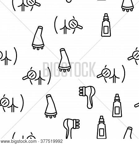 Cellulite Combat Tool Vector Seamless Pattern Thin Line Illustration