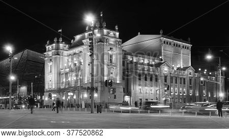 Belgrade / Serbia - November 2, 2019: Night View Of The National Theater Of Serbia In The Republic S