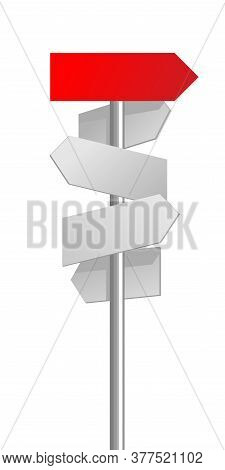 Road Signpost With Different Directions And One Main Arrow With Right Direction - Vector Template Fo