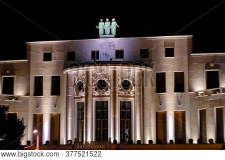 Belgrade / Serbia - December 15, 2019: Night View Of The Embassy Of France In Belgrade, Serbia