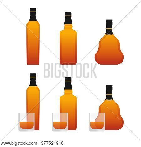 Alcoholic Drinks Bottles - Whisky, Rum Or Cognac - In Three Variations And With Drinking Glasses