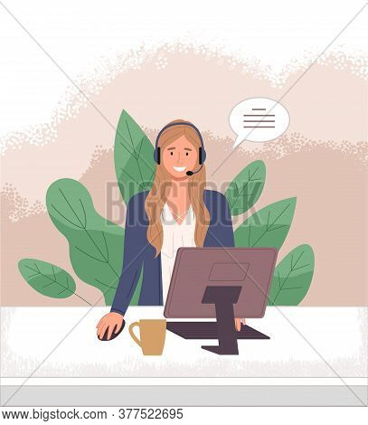 Woman Operator Call Center Or Hotline. Girl In Headphones Sits At A Computer And Helps A Client Onli