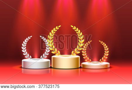 Stage Podium With Lighting, Stage Podium Scene With For Award Ceremony On Red Background. Vector