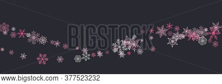 Seamless Christmas Pattern With Various Complex Big And Small Snowflakes On Black Background. Modern