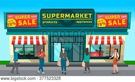 Image Of Grocery Store With Large Discount Signs. Supermarket With Billboards. People Shop At The St