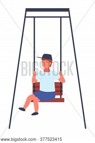 The Boy Rides The Swing. Happy Childish Time. Amusement Park. Childhhod. Kid Has Fun On Carousel. Cu