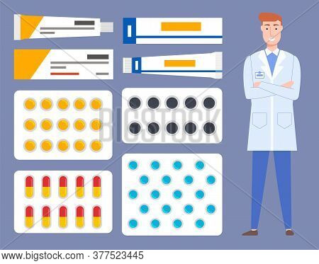 Pharmaceutical Background. Pharmacist With Medicine And Instruments. Male Doctor Stands In Medical U