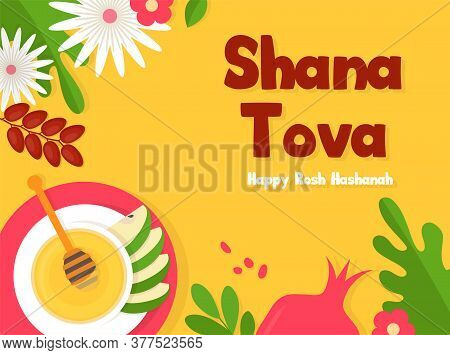 Greeting Banner With Symbols Of Jewish Holiday Rosh Hashana, New Year. Shana Tova - Blessing Of Happ