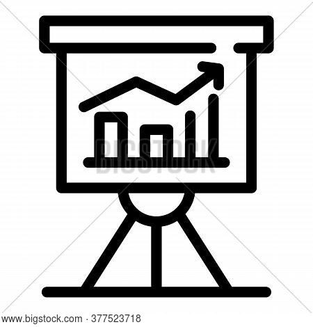 Trader Banner Graph Icon. Outline Trader Banner Graph Vector Icon For Web Design Isolated On White B
