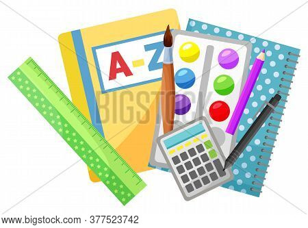 Reading Textbook And Copybook, School Stationery Supplies Vector. Alphabet Book And Notebook, Pencil