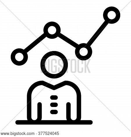 Broker Graph Work Icon. Outline Broker Graph Work Vector Icon For Web Design Isolated On White Backg