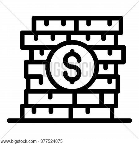 Broker Coin Stack Icon. Outline Broker Coin Stack Vector Icon For Web Design Isolated On White Backg