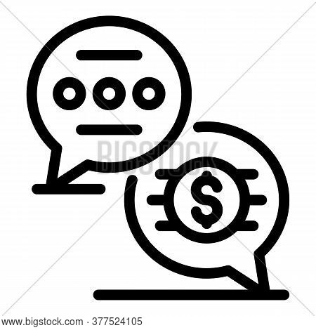 Broker Work Chat Icon. Outline Broker Work Chat Vector Icon For Web Design Isolated On White Backgro