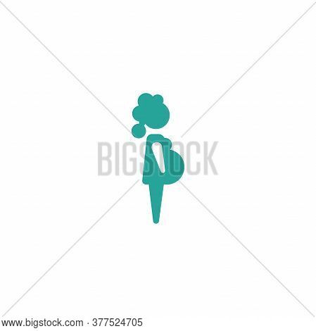 Blue Silhouette Of Pregnant Woman In Dress. Lady Prenatal Sign. Isolated On White.