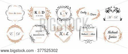 Wedding Monograms Set. Fancy Logos In Bohemian Style, Couple Names In Wreath Like Frames For Event I