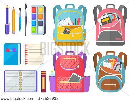 School Objects, Paints With Tassel, Colorful Pencils, Notebook And Pen In Backpack. Educational Equi