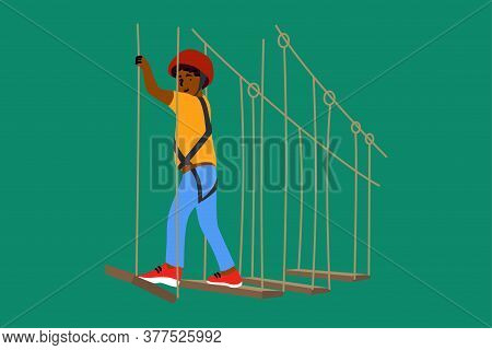 Sport, Game, Adventure, Childhood, Recreation Concept. Young Happy Excited African American Boy Chil