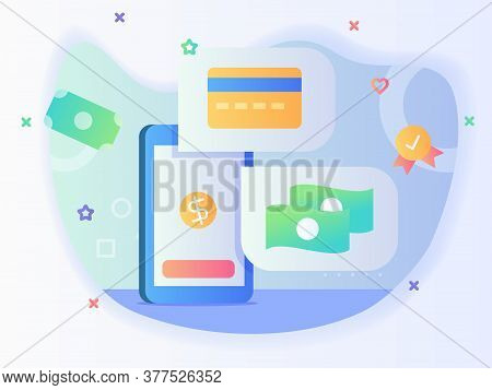 Smart Phone Screen Viewing Bankcard Money Concept Of Cashless Transaction With Flat Style.