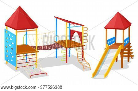 School Yard, Playground Object, Slide And Rope, Climb Wooden Equipment. Young Active, Game Palace Wi