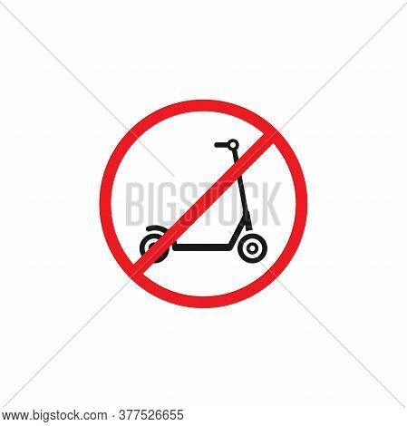 Black Kick Scooter Or Balance Bike In Red Crossed Circle Icon. No Push Scooter S Sign Isolated On Wh