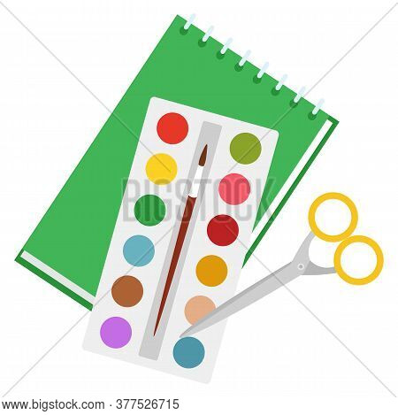 Set Of Stationery For Study And Work. Paint Palette With Tassel To Draw Paintings. Scissors To Cut P