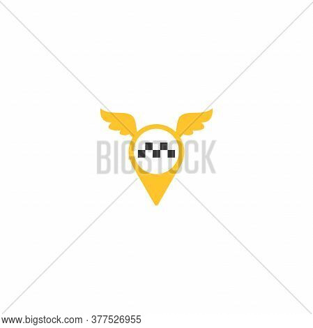Map Pin With Wings And Taxi Car Sign. Taxi Service Vector Icon. Taxi Map Pointer, Taxi Signs.