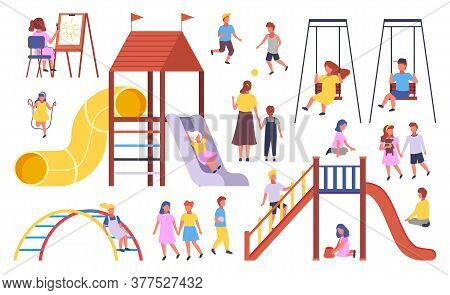 Illustration Of Kindergarten With Playground And Lots Of Playground Equipment. The Teacher The Child