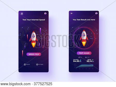 Mobile Apps Internet Speed Test Ux/ui Design Vector