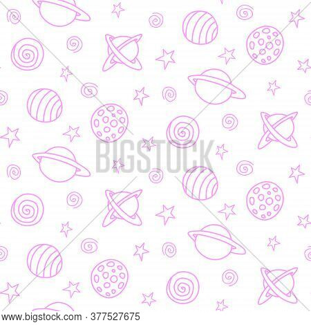 Baby Space Seamless Pattern. Cartoon Pink Outline Planets And Stars. Vector Cosmic Background And Te