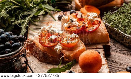 Summer Snack Sandwiches With Grilled Peaches, Dor Blue Cheese, Wooden Background, Ciabatta With Peac