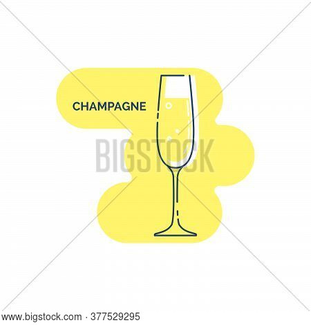 Wineglass Shampagne With Air Bubbles Line Art In Flat Style. Isolated On Colored Shape As Background
