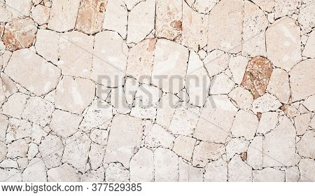 Wall Made Of Shelly Limestone, It Is A Highly Fossiliferous Stone, Composed Of A Number Of Fossilize