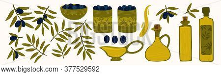 Mediterranean Healthy Bio Food. Fresh And Healthy Fruits. Bottles, Bowls And Jars Of Olive Oil. A La