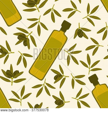 Pattern With Greek Food. Seamless Repeating Pattern. Natural Products For A Mediterranean Lunch. Bot