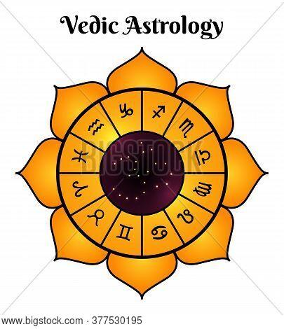 Jyotisha Hindu Astrology Vedic Rituals Timekeeping Calendar Single Isolated Top View Image White Bac