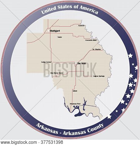 Round Button With Detailed Map Of Arkansas County In Arkansas, Usa.
