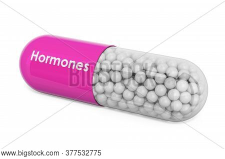 Hormones Drug, Capsule With Hormones. 3d Rendering Isolated On White Background