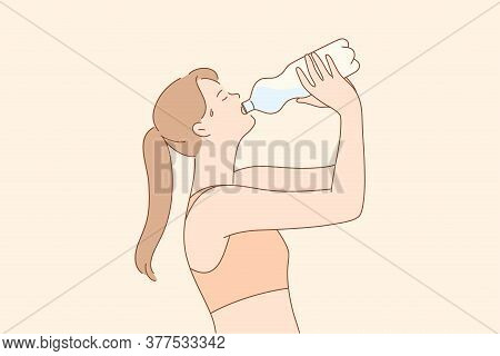 Sport, Recreation, Break, Drink Concept. Young Thirsty Woman Or Girl Athlete Cartoon Character Drink