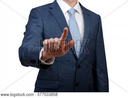 Businessman in suit touch at something isolated on white background