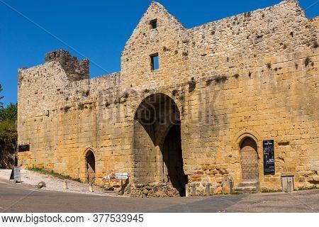 Domme, France - August 14, 2019: Porte des Tours, the medieval city gate, Domme, Dordogne, Aquitaine, France, Europe