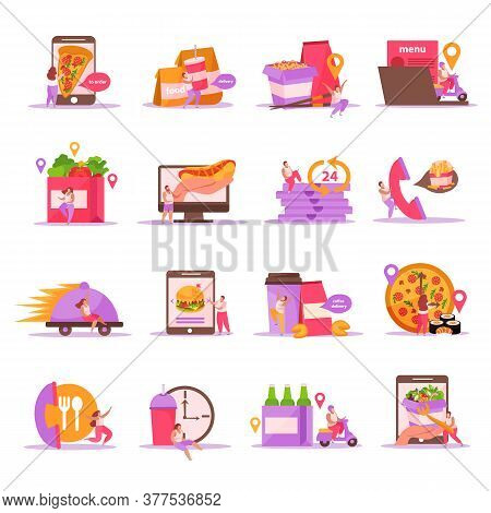 Food Delivery Flat Icons Set With Isolated Images Of Fastfood Meal With Packages And Courier Charact